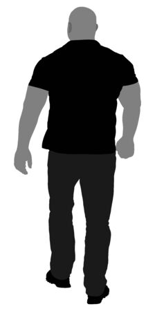 Bouncer walking vector silhouette illustration. Security Guards nightclub. Strong man walking. Body builder back view. Tough guy muscular man.
