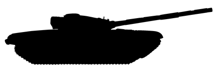 Tank vector silhouette, isolated on white background. Black symbol.