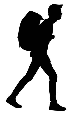 Tourist with backpack vector silhouette illustration isolated on white background. Male passenger walking. Camping man traveling. Boy hiking. Traveler around the world. Collage boy, student walking. Stock Illustratie