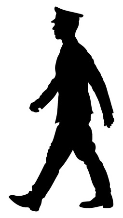 Elegant pilot vector black silhouette isolated on white background. Army soldier ceremony walking. (Memorial day, Veterans day, 4th of july, Independence day). officer in ceremonial uniform walking.