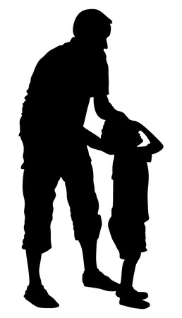 Physiotherapist and boy exercising in rehabilitation center, vector silhouette illustration isolated. Doctor supports the child during physiotherapy treatment. holding hands making first steps