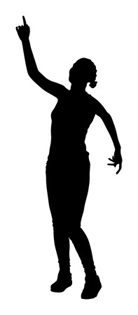 clubber: Party girl, holidays, celebration, nightlife people concept -  happy women dancing in night club. Put your hands in the air. Illustration