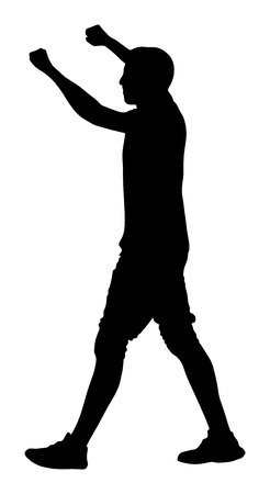 clubber: Party boy, holidays, celebration, nightlife people concept -  happy man dancing in night club. Put your hands in the air. Sport fan go to  football event.