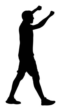 Party dancer handsome boy vector silhouette. Nightlife party dancing concept. Disco club event. Birthday celebration. Teenager in good mood. Fun  entertainment. Young man music enjoying. Dj clubbing Illustration