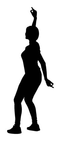 Party dancer handsome girl vector silhouette. Nightlife party dancing. Disco club event. Birthday celebration. Teenager in good mood. Fun  entertainment. Young woman enjoying in music. DJ clubbing.