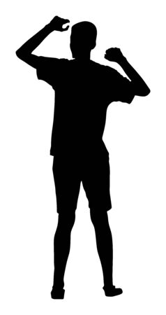 Party dancer handsome boy vector silhouette. Nightlife party dancing concept. Disco club event. Birthday celebration. Teenager in good mood. Fun  entertainment. Young man music enjoying. Dj clubbing Иллюстрация