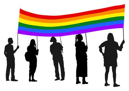 Gay activists protesters with large lgbt flag silhouette. Homosexual rights activist. Иллюстрация