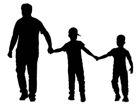 Grandfather and grandsons hold hands and walking. Grandfather Carrying Grandson vector silhouette. Fathers day. family love, outdoor activity. Boys with grandpa. Family values. Adopted child enjoy.