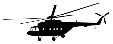 Silhouette of a military helicopter vector illustration isolated on white background. Part of strong army weapon. Transportation aircraft for combat.  Chopper in air in evacuation action. Whirlybird. Banque d'images - 128596571