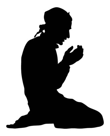 Islamic religion. Silhouette of muslim man praying vector silhouette illustration isolated on white background. Islam prayer. Mohammedan in mosque. religious practice. faith in God. Allah is great. Фото со стока - 128596578