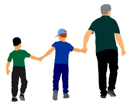 Grandfather and grandsons hold hands and walking. Grandfather Carrying Grandson vector illustration. Fathers day. family love, outdoor activity. Boys with grandpa. Family values. Adopted child enjoy.