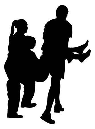 Siluetta di vettore del paziente di pronto soccorso del paramedico. Donna in stato di annegamento privo di sensi. Overdose di persona ubriaca. Soccorso furtivo della vittima dell'attacco. Squadra di soccorso RCP. Vittima di evacuazione antincendio. Soccorso terremoto. Vettoriali