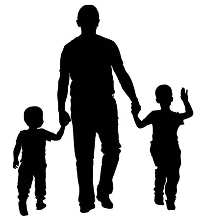 Father with kids vector silhouette illustration isolated on white background. Dad and two sons walking the street and holding hands. Fathers day. Closeness and tenderness in public. Happy children.