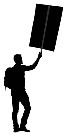 Protester with transparent vector silhouette. Man hand holding sign. Empty flag editable plate isolated. Blank protest sign. Political agitation campaign. Demonstration for social laborers rights .