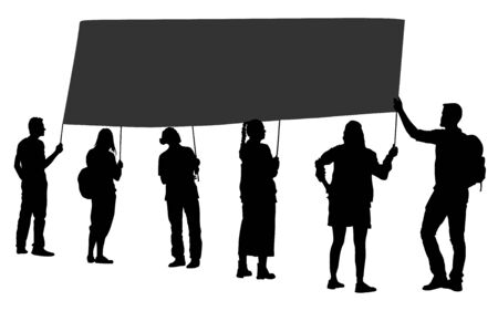 Group of protester vector silhouette illustration. Hand holding sign. Man hand. Empty editable plate isolated. Blank protest sign. Political agitation campaign. Propaganda poster. Agitation campaign. 일러스트