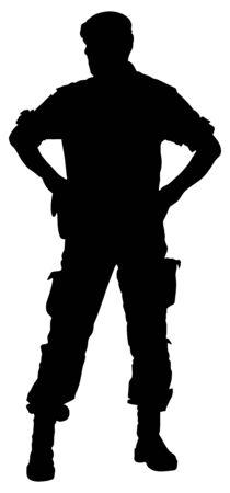 Vector de silueta de soldado del ejército aislado sobre fondo blanco. (Día de los Caídos, Día de los Veteranos, 4 de julio, Día de la Independencia). Moderno joven policía o soldado de guardia. Miembro de la fuerza especial. Ilustración de vector
