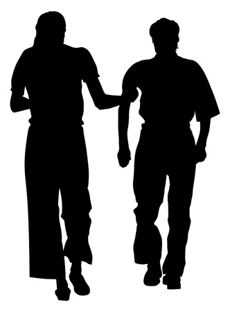 Nurse helps old person to walking vector silhouette illustration. Senior mature, old people active life. Old man person walking with daughter. Grandpa vector . After surgery health care in hospital.