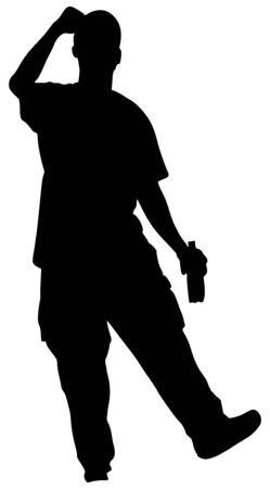 Drunk man with bottle of wine silhouette. Drinking young guy isolated over white background. Happy alcohol boy consumer symbol. Social problem in community. Alcoholism addiction. Vector Illustration