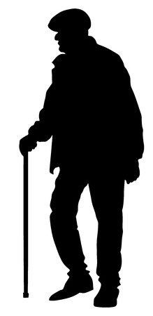 Old man person walking with stick. Vector character isolated on white background. Senior mature, old people active life. Old man person walking with stick. Grandpa vector silhouette. Ilustração Vetorial