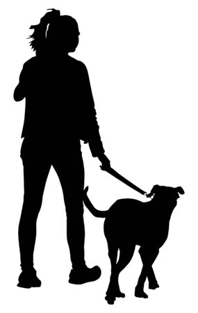Owner lady and dog walking vector silhouette. Woman with dog on leash illustration isolated on white background. After work recreation and health care activity with pet.