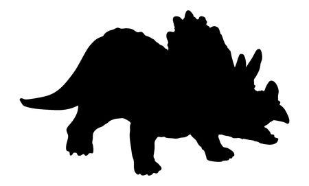 plated: Triceratops vector silhouette illustration. A plant-eater. The largest of the horned dinosaurs. About 20 ft (6 m) long. Upper Cretaceous, about 70 million years ago. Illustration