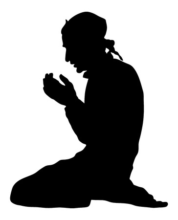Islamic religion. Silhouette of muslim man praying vector silhouette illustration isolated on white background. Illustration