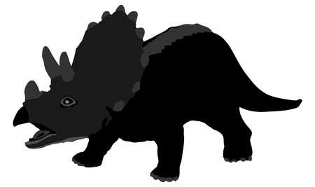 Triceratops vector silhouette illustration. A plant-eater. The largest of the horned dinosaurs. About 20 ft (6 m) long. Upper Cretaceous, about 70 million years ago. Illustration