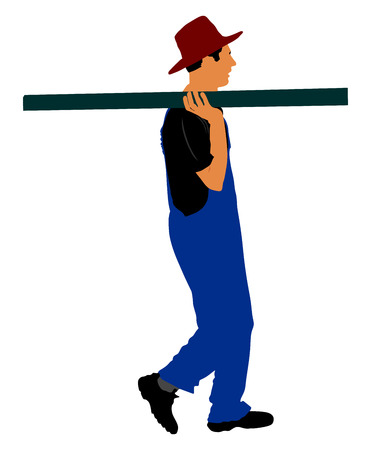 Worker carries a beam on his shoulder vector illustration. Construction man walking with leverage. Illustration