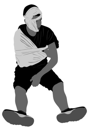 concussion: Young man with trauma of the head and arm vector illustration. A man with a broken hand, arm and head injuries patient.