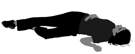 sobredosis: Dead girl on the sidewalk vector illustration. Drunk girl after party. Patient rescue. Drunk person overdose.