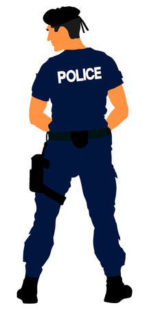 Police officer vector isolated on white background. Policeman on duty. Policeman on duty vector silhouette isolated on white background. Special force police officer SWAT. Antiterrorism commandos. Cop in order illustration.