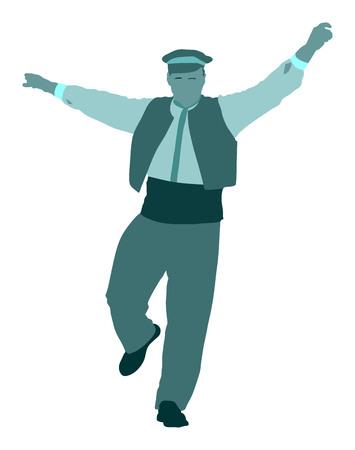 白い背景に分離されたギリシャ語 Evzone のダンス ベクトル シルエット。伝統的なダンス。人物のシルエット ベクトル イラストレーションを踊る。