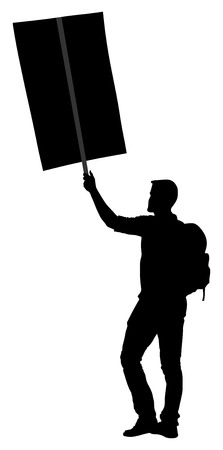 Protester vector silhouette illustration. Hand holding sign. Man hand. Empty editable plate isolated. Blank protest sign. Political agitation campaign. Propaganda poster. Agitation campaign Vettoriali