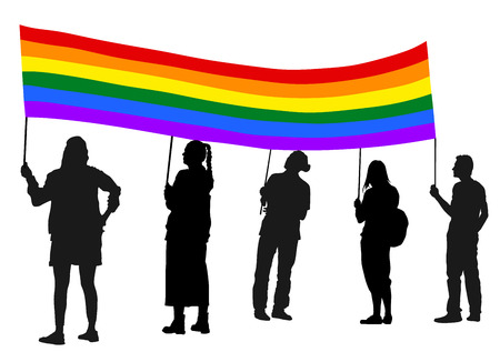 demonstrate: Group of pride gay protester vector silhouette illustration. Hand holding rainbow pride flag sign. Man hand. Protest sign. Political agitation campaign. Propaganda poster. Agitation campaign.