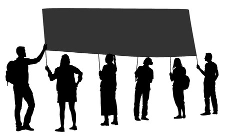 Group of protester vector silhouette illustration. Hand holding sign. Man hand. Empty editable plate isolated. Blank protest sign. Political agitation campaign. Propaganda poster. Agitation campaign. Illustration