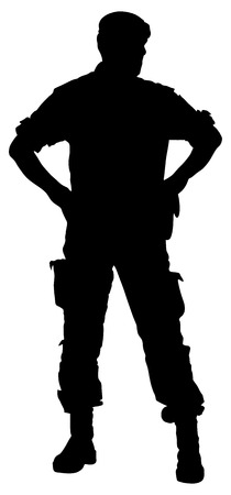 Army soldier's silhouette vector isolated on white background. (Memorial day, Veteran's day, 4th of july, Independence day). Modern young police man or soldier on duty. Special force member.