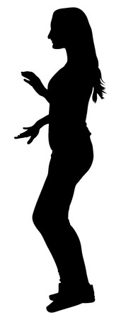 clubber: Party girl vector silhouette illustration isolated on white background. Night life concept. Happy women dancing in night club.
