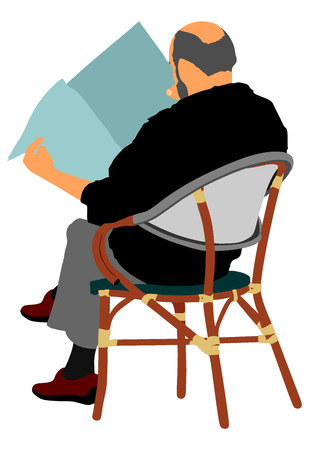 Senior mature man sitting on a chair in coffee shop  illustration. Business man reading newspapers. Senior gentleman sitting on a wooden chair. Illustration