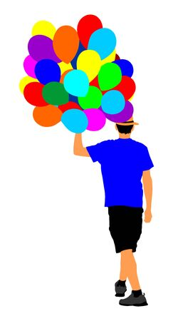 Hipster man with balloons vector illustration. Boy walking with balloons. Happy birthday concept. Children animator