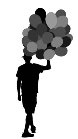 Hipster man with balloons vector silhouette illustration. Boy walking with balloons. Happy birthday concept. Children animator