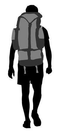 Tourist with backpack  silhouette illustration isolated on white background. Male hipster passenger walking. Camping man traveling. Climber  silhouette.