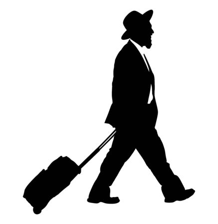 Amish man in suite vector silhouette illustration. businessman. Tourist man traveler walking with rolling suitcase vector isolated on white. Diamond merchant. Jeweler buyer, trader from Israel