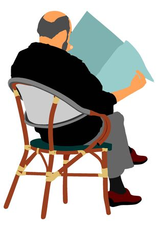 Senior, mature man sitting on a chair in coffee shop vector silhouette. Business man reading newspaper. Senior gentleman with sitting on a wooden chair and reading a newspaper in a park. Relax time. Illustration