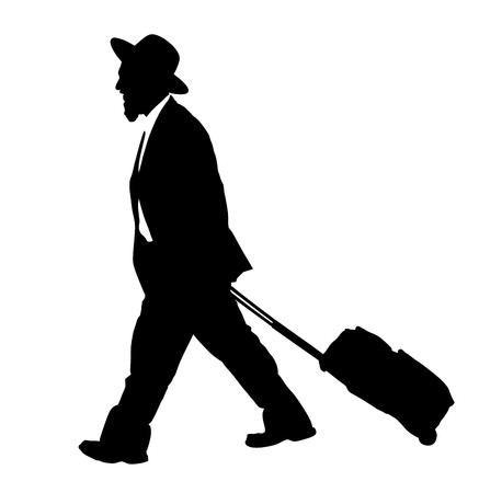 Amish man is suite  silhouette illustration. Jewish business man. Tourist man traveler carrying his rolling suitcase  silhouette illustration isolated on white background. diamond merchant