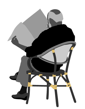 Senior mature man sitting on a chair in coffee shop vector silhouette illustration. Business man reading newspapers. Senior gentleman sitting on a wooden chair. Illustration