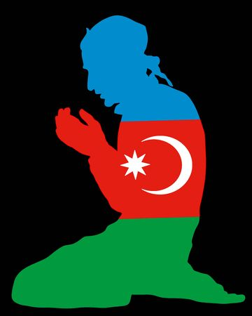 Pose of Muslim man praying vector silhouette illustration isolated on background. Muslim from Azerbaijan national flag symbol theme. Islamic religion faithful. Believer in mosque.