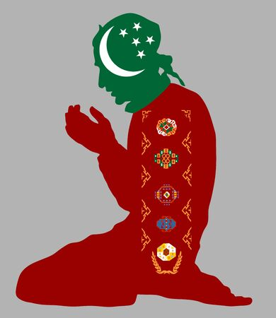 Islamic religion. Pose of muslim man praying vector silhouette illustration isolated on background Muslim from Turkmenistan national flag symbol theme. Loyal muslim migrant citizen in Europe country.