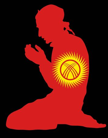 Islamic religion. Pose of Muslim man praying vector silhouette illustration isolated on background Muslim from Kyrgyzstan national flag symbol theme. Loyal muslim migrant citizen in European country.
