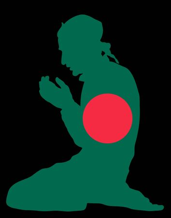 Pose of Muslim man praying vector silhouette illustration isolated on background. Muslim from Bangladesh national flag symbol theme. Islamic religion faithful. Believer in mosque. Иллюстрация