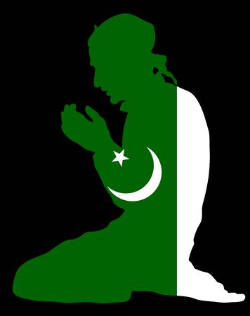 Islamic religion. Pose of Muslim man praying vector silhouette illustration isolated on background. Muslim from Pakistan national flag symbol theme. Loyal Muslim migrant citizen in  European country. Standard-Bild - 128224091